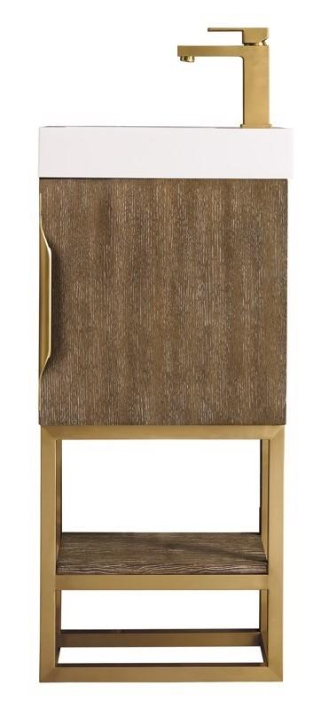 "16"" Columbia Single Bathroom Vanity, Latte Oak w/ Radiant Gold Base"