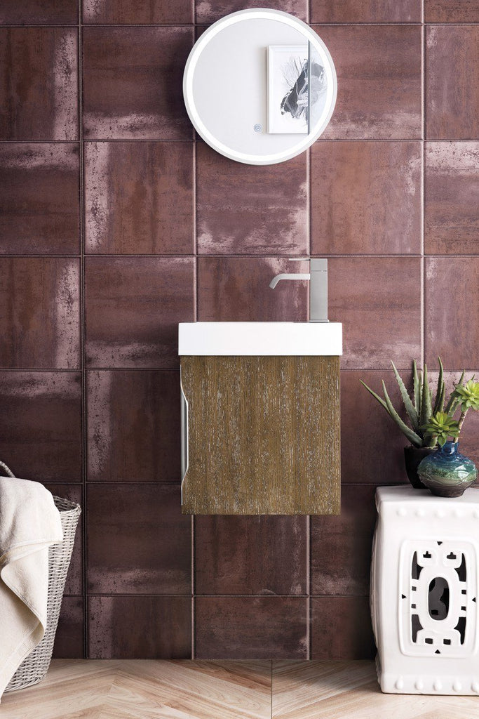 "16"" Columbia Single Bathroom Vanity, Latte Oak, Wall Mounted"