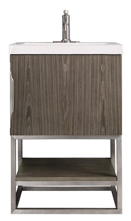 "24"" Columbia Single Bathroom Vanity, Ash Gray w/ Brushed Nickel Base"