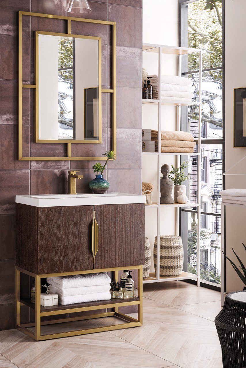 "31.5"" Columbia Single Vanity Cabinet, Coffee Oak, Radiant Gold, w/ White Glossy Resin Countertop"