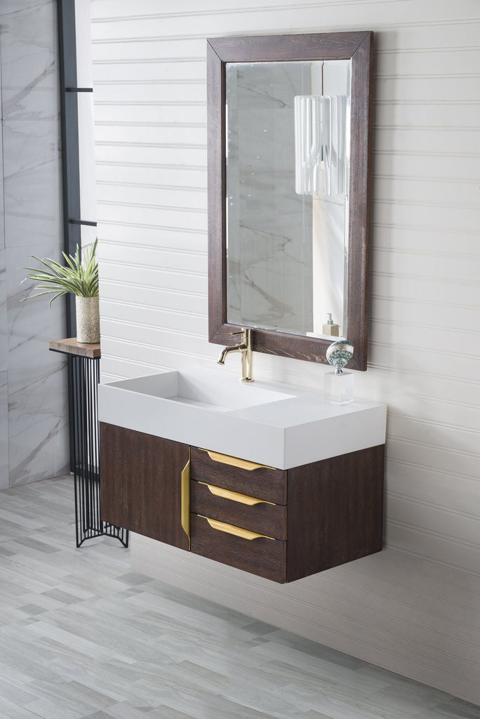 "36"" Mercer Island Single Bathroom Vanity, Coffee Oak, Radiant Gold, James Martin Vanities - vanitiesdepot.com"