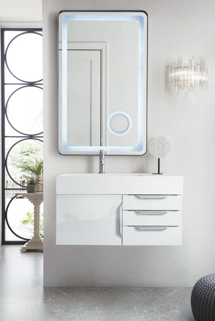 "36"" Mercer Island  Single Bathroom Vanity, Glossy White, James Martin Vanities - vanitiesdepot.com"