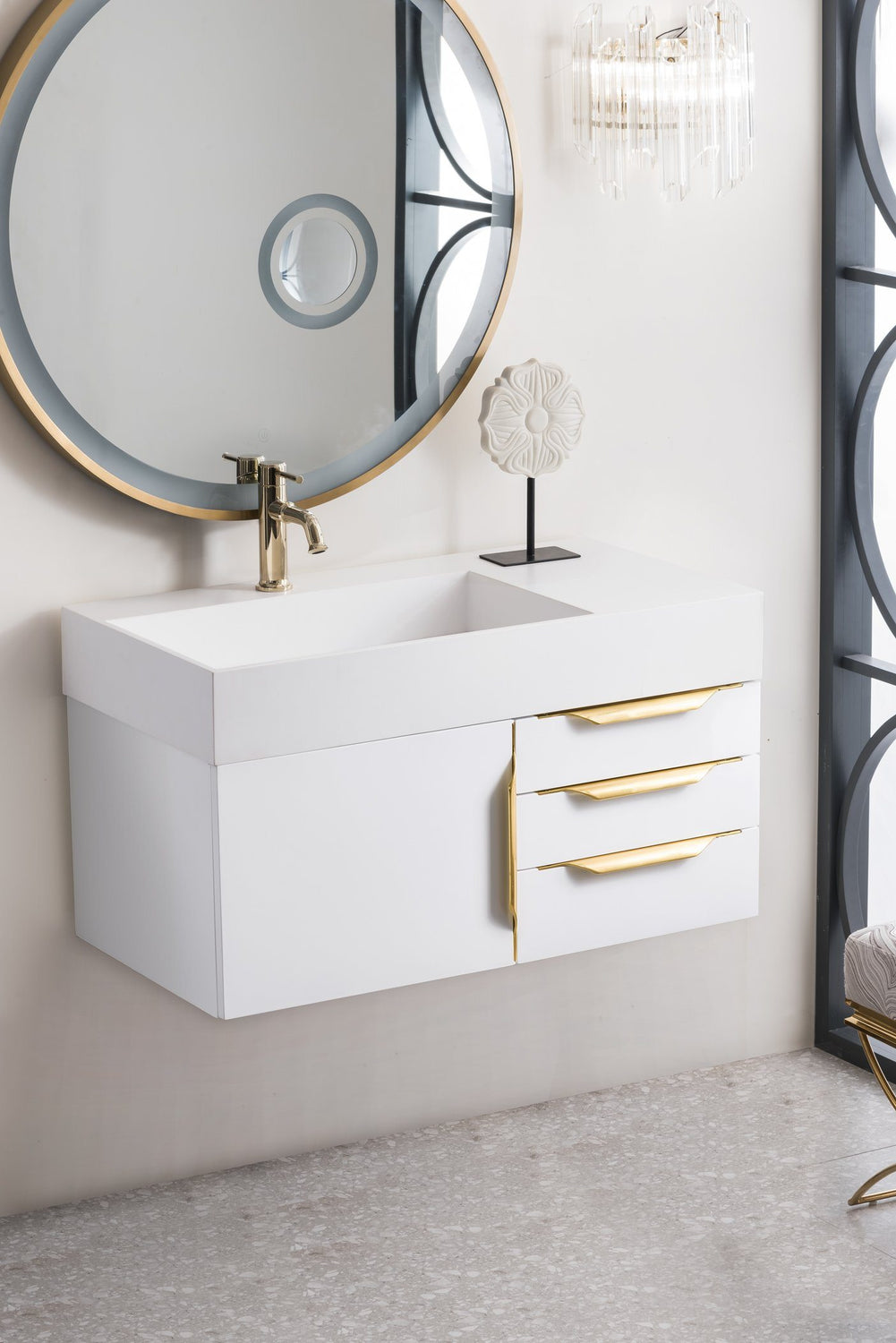 "36"" Mercer Island  Single Bathroom Vanity, Glossy White, Radiant Gold, James Martin Vanities - vanitiesdepot.com"