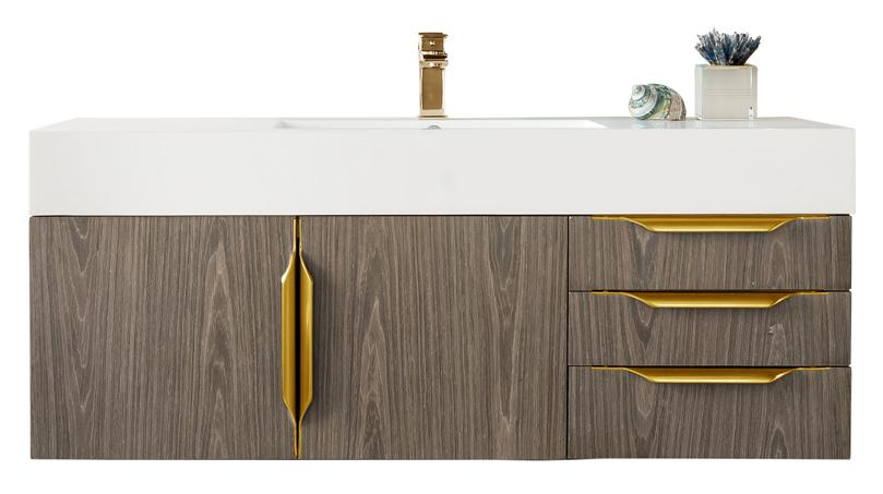 "48"" Mercer Island Single Bathroom Vanity, Ash Gray, Radiant Gold, James Martin Vanities - vanitiesdepot.com"