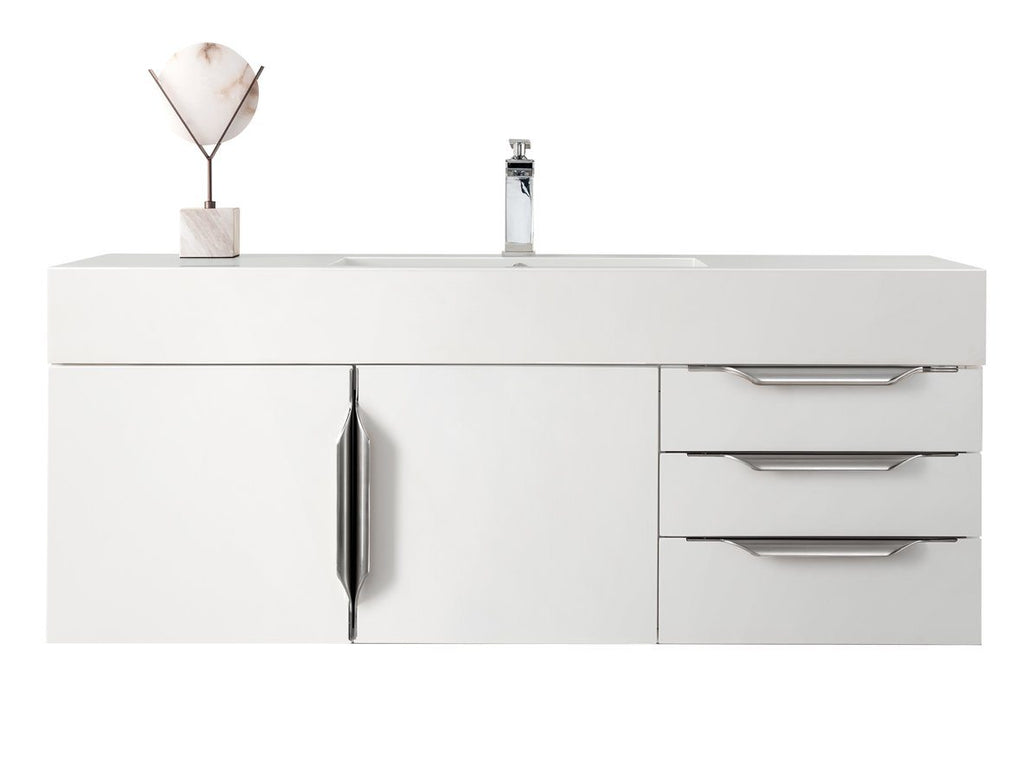 "48"" Mercer Island Single Bathroom Vanity, Glossy White, James Martin Vanities - vanitiesdepot.com"