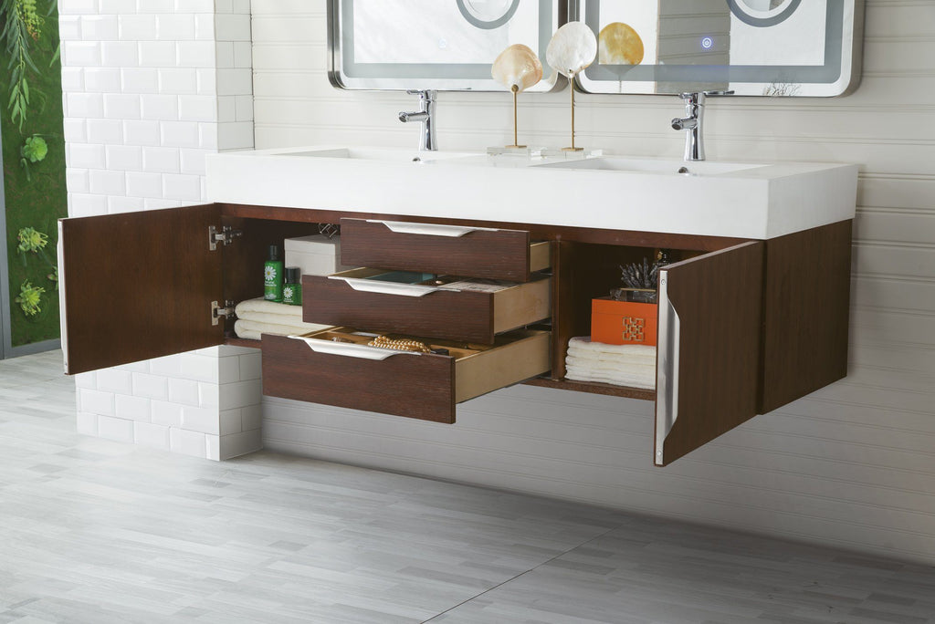"59"" Mercer Island Double Bathroom Vanity, Coffee Oak, James Martin Vanities - vanitiesdepot.com"