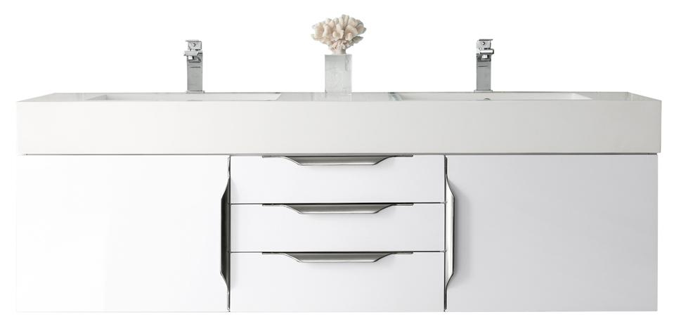 "59"" Mercer Island Double Bathroom Vanity, Glossy White, James Martin Vanities - vanitiesdepot.com"