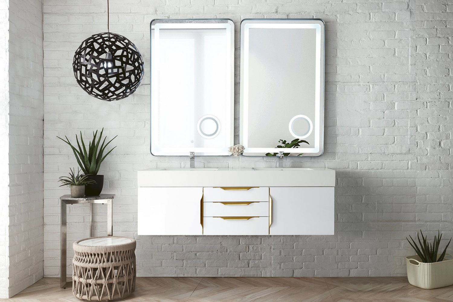 "59"" Mercer Island Double Bathroom Vanity, Glossy White, Radiant Gold, James Martin Vanities - vanitiesdepot.com"