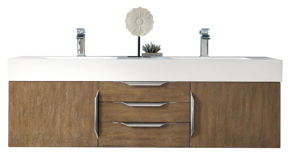 "59"" Mercer Island Double Bathroom Vanity, Latte Oak, James Martin Vanities - vanitiesdepot.com"