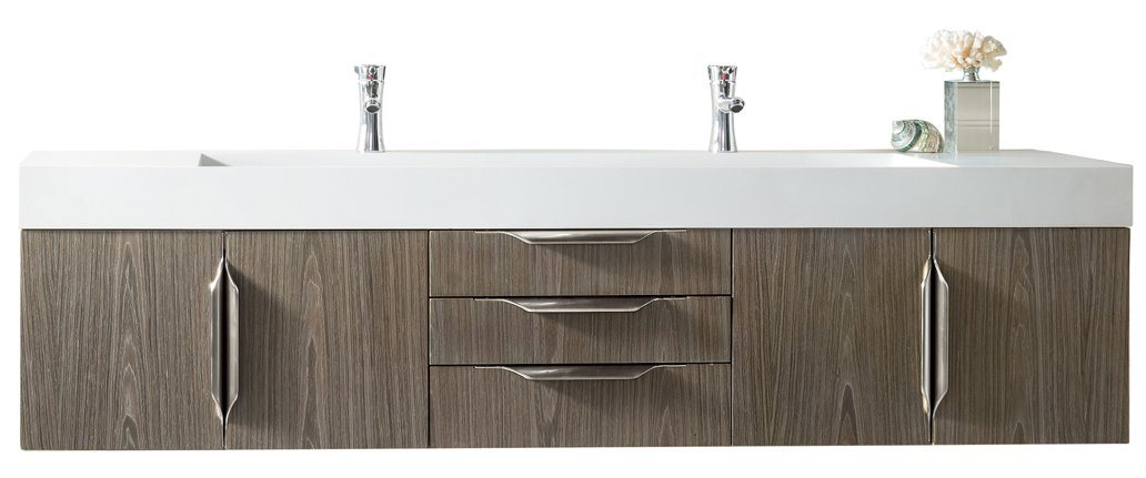 "72"" Mercer Island Double Bathroom Vanity, Ash Gray, James Martin Vanities - vanitiesdepot.com"