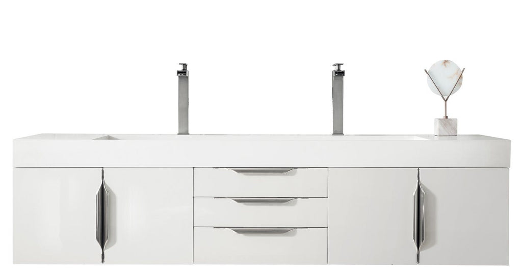 "72"" Mercer Island Double Bathroom Vanity, Glossy White, James Martin Vanities - vanitiesdepot.com"