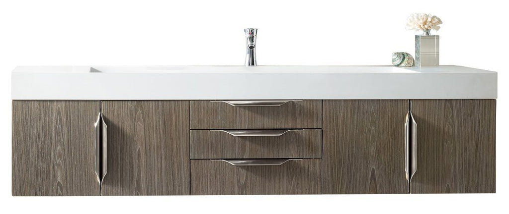 "72"" Mercer Island Single Bathroom Vanity, Ash Gray, James Martin Vanities - vanitiesdepot.com"