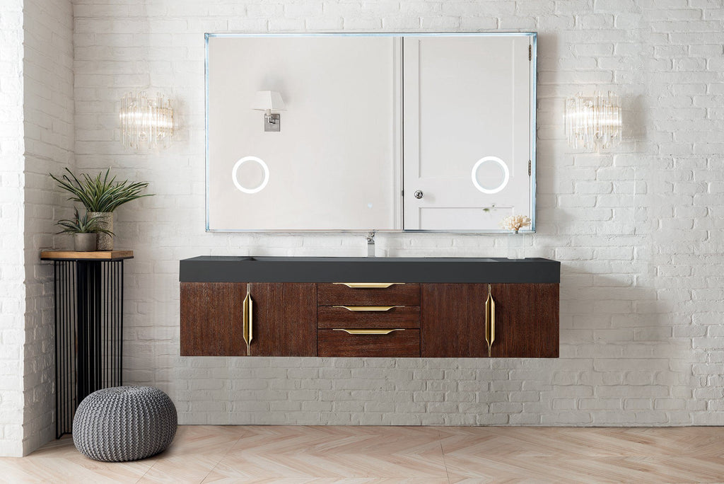 "72"" Mercer Island Single Bathroom Vanity, Coffee Oak, Radiant Gold, James Martin Vanities - vanitiesdepot.com"