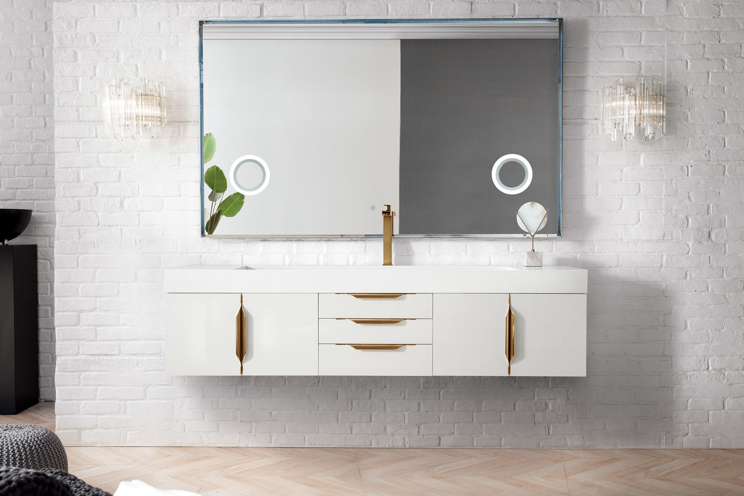 "72"" Mercer Island Single Bathroom Vanity, Glossy White, Radiant Gold, James Martin Vanities - vanitiesdepot.com"