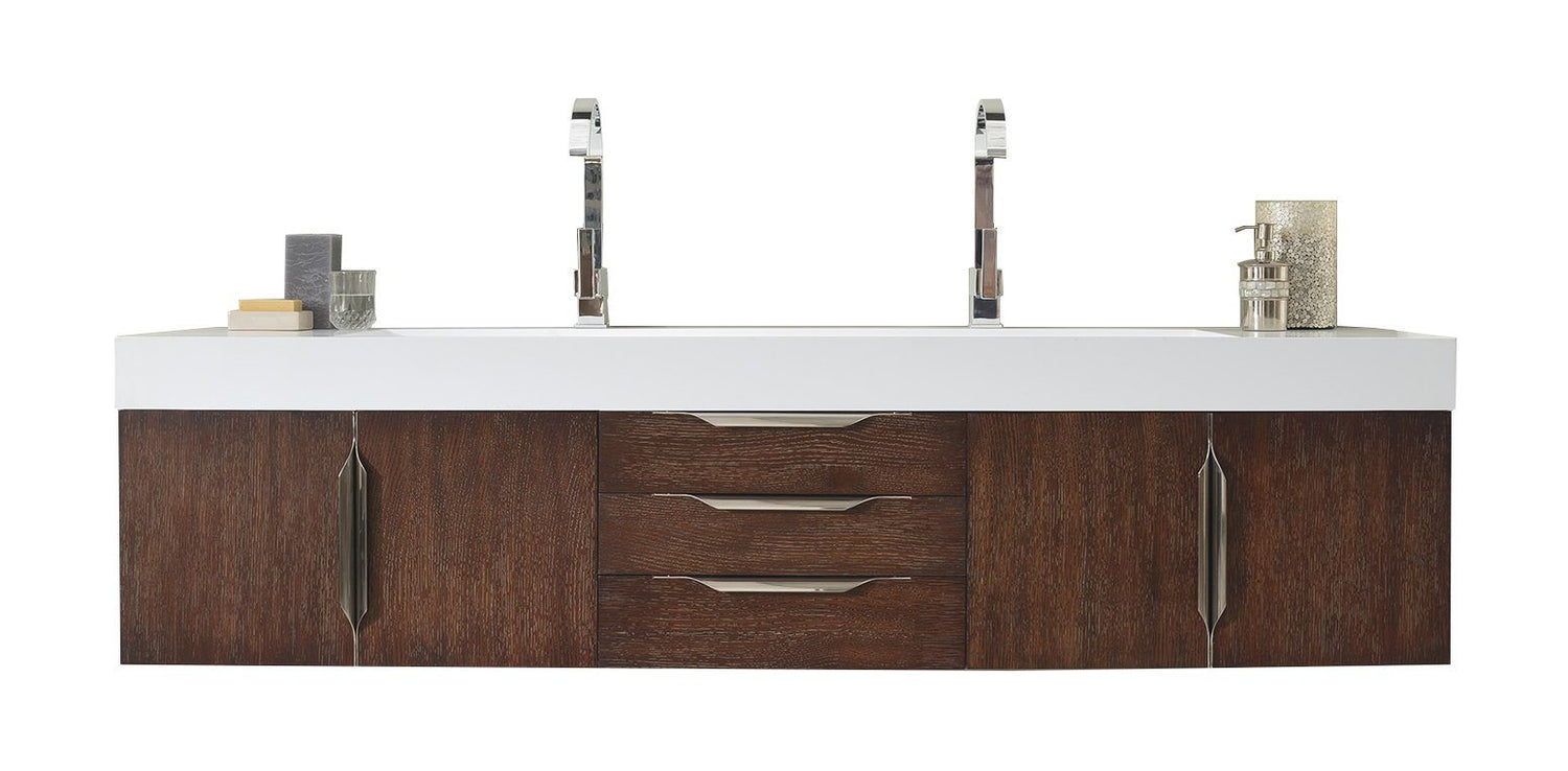 "72"" Mercer Island Coffee Oak Double Sink Bathroom Vanity, James Martin Vanities - vanitiesdepot.com"