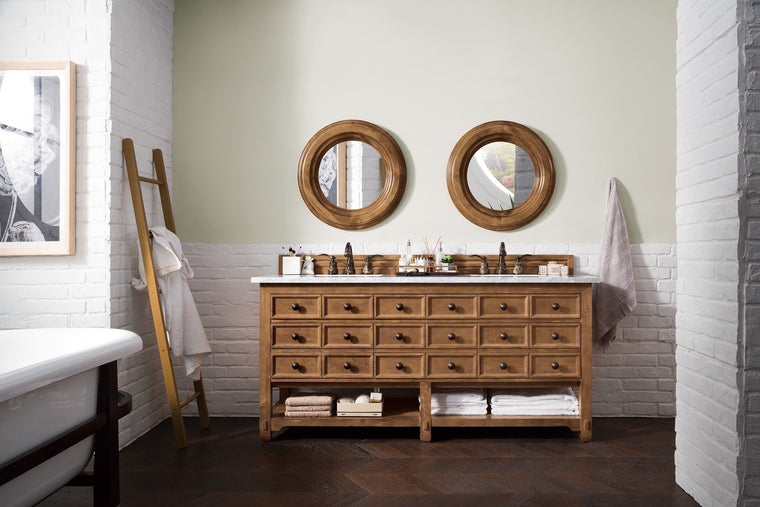 "72"" Malibu Honey Alder Double Sink Bathroom Vanity - vanitiesdepot.com"