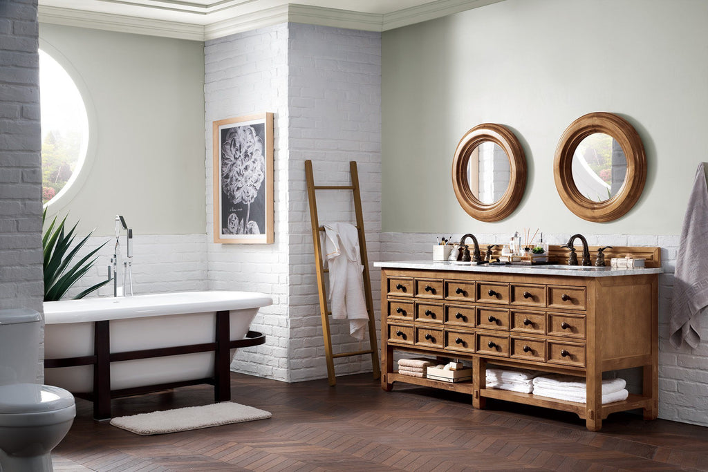 "72"" Malibu Honey Alder Double Sink Bathroom Vanity, James Martin Vanities - vanitiesdepot.com"