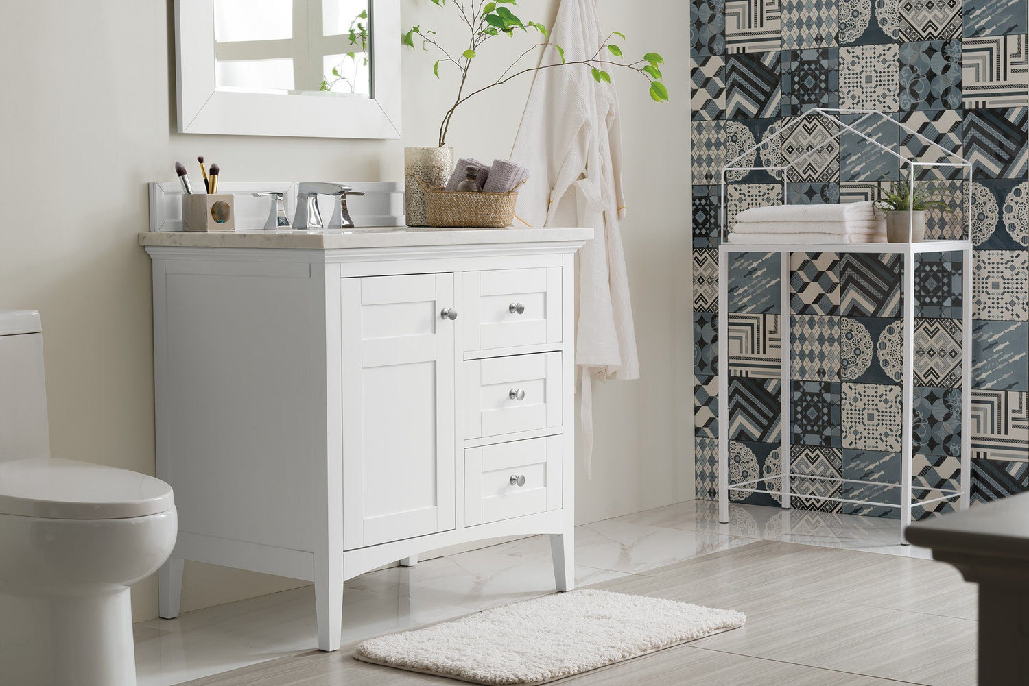 "36"" Palisades Bright White Single Bathroom Vanity, James Martin Vanities - vanitiesdepot.com"