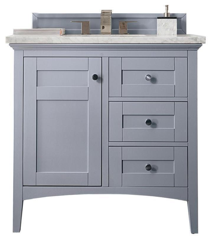 "36"" Palisades Silver Gray Single Bathroom Vanity, James Martin Vanities - vanitiesdepot.com"