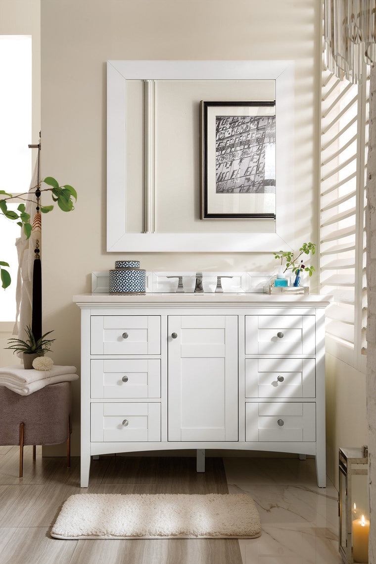 "48"" Palisades Bright White Single Bathroom Vanity, James Martin Vanities - vanitiesdepot.com"