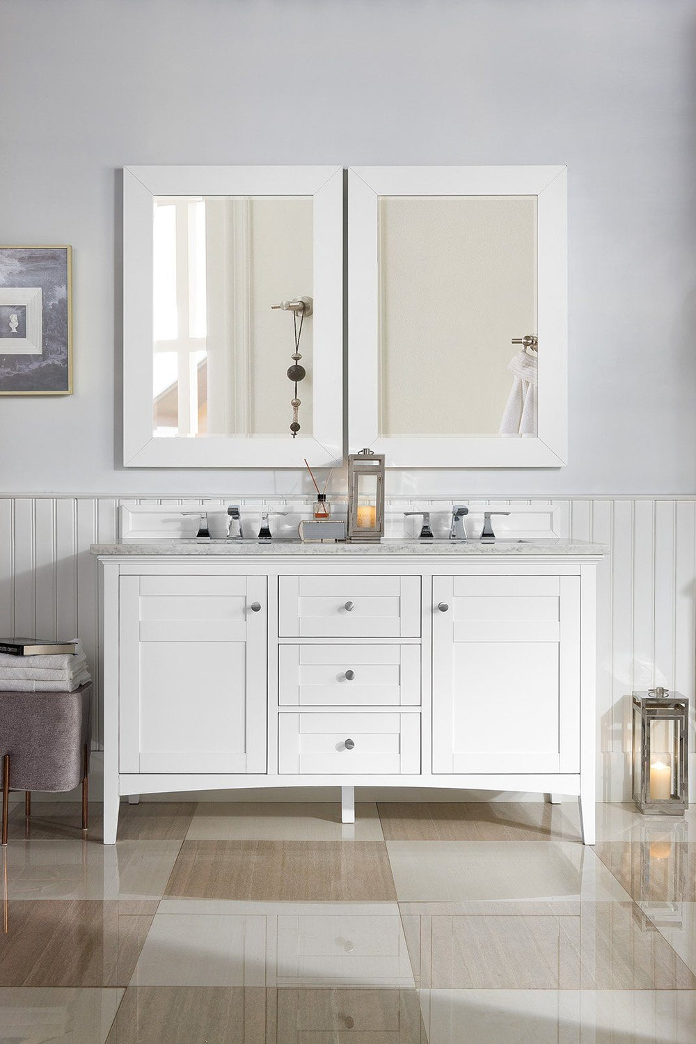 "60"" Palisades Bright White Double Bathroom Vanity, James Martin Vanities - vanitiesdepot.com"