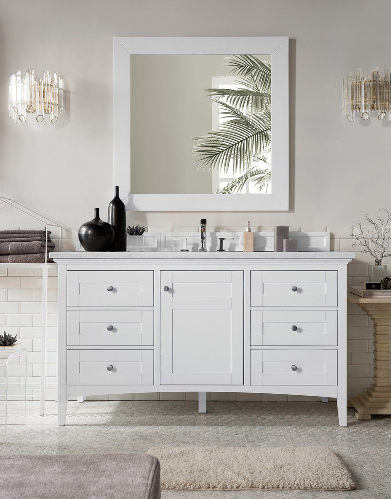 "60"" Palisades Bright White Single Bathroom Vanity, James Martin Vanities - vanitiesdepot.com"
