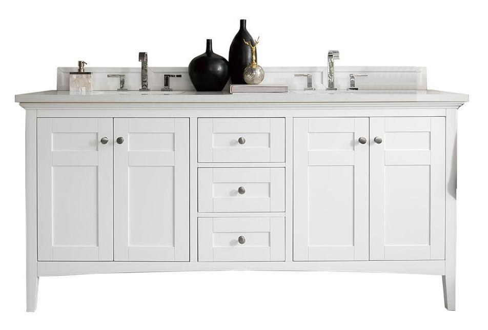 "72"" Palisades Bright White Double Bathroom Vanity, James Martin Vanities - vanitiesdepot.com"