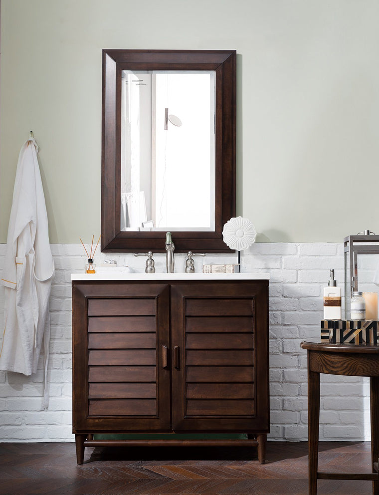 "36"" Portland  Burnished Mahogany Single Bathroom Vanity - vanitiesdepot.com"