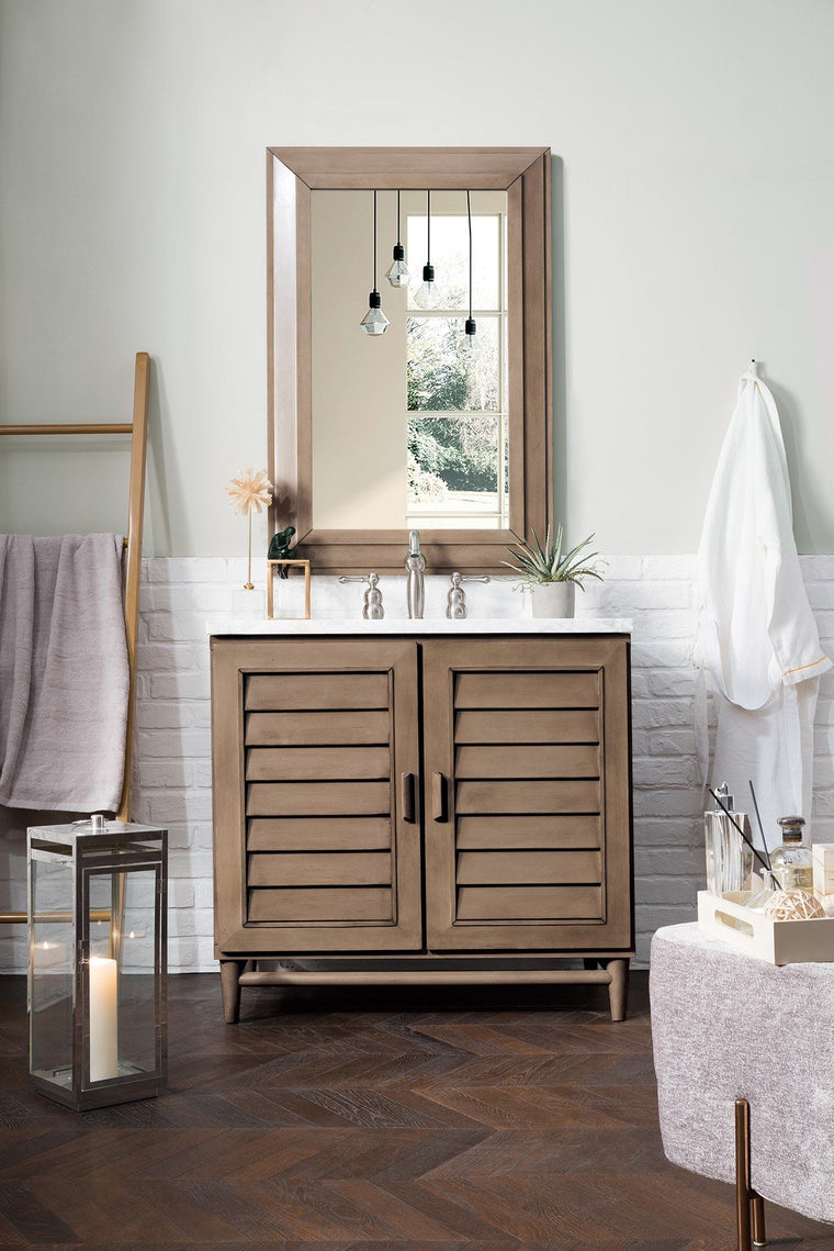 "36"" Portland Whitewashed Walnut Single Bathroom Vanity, James Martin Vanities - vanitiesdepot.com"