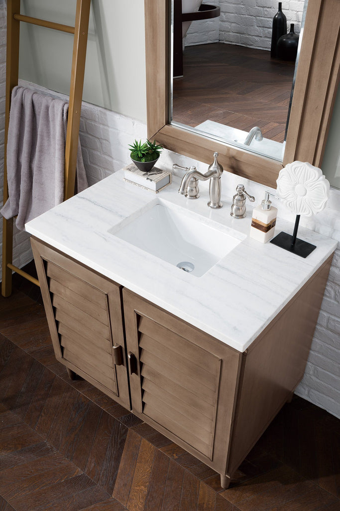 "36"" Portland Whitewashed Walnut Single Bathroom Vanity - vanitiesdepot.com"