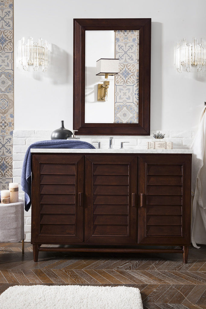 "48"" Portland Burnished Mahogany Single Bathroom Vanity - vanitiesdepot.com"