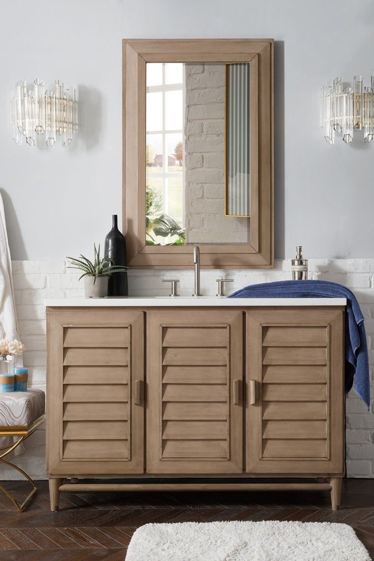 "48"" Portland Whitewashed Walnut Single Bathroom Vanity, James Martin Vanities - vanitiesdepot.com"