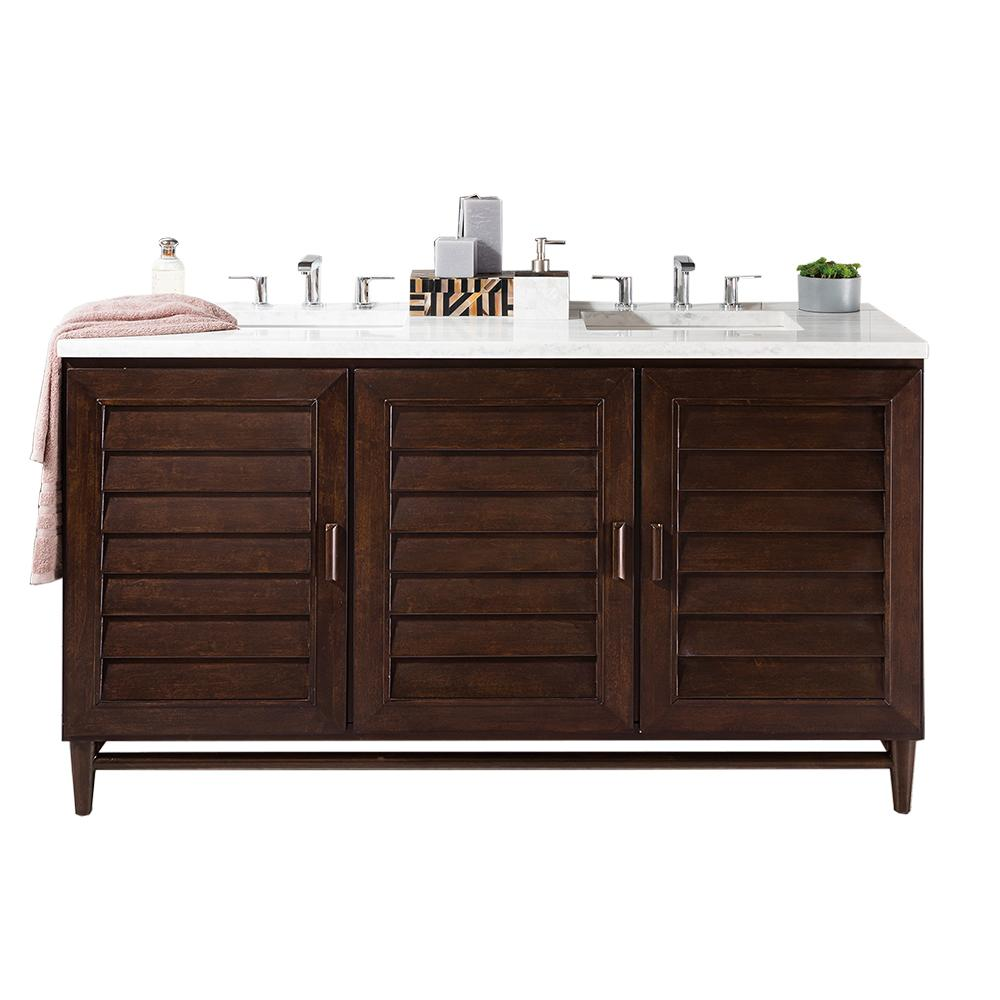 "60"" Portland Burnished Mahogany Double Bathroom Vanity, James Martin Vanities - vanitiesdepot.com"
