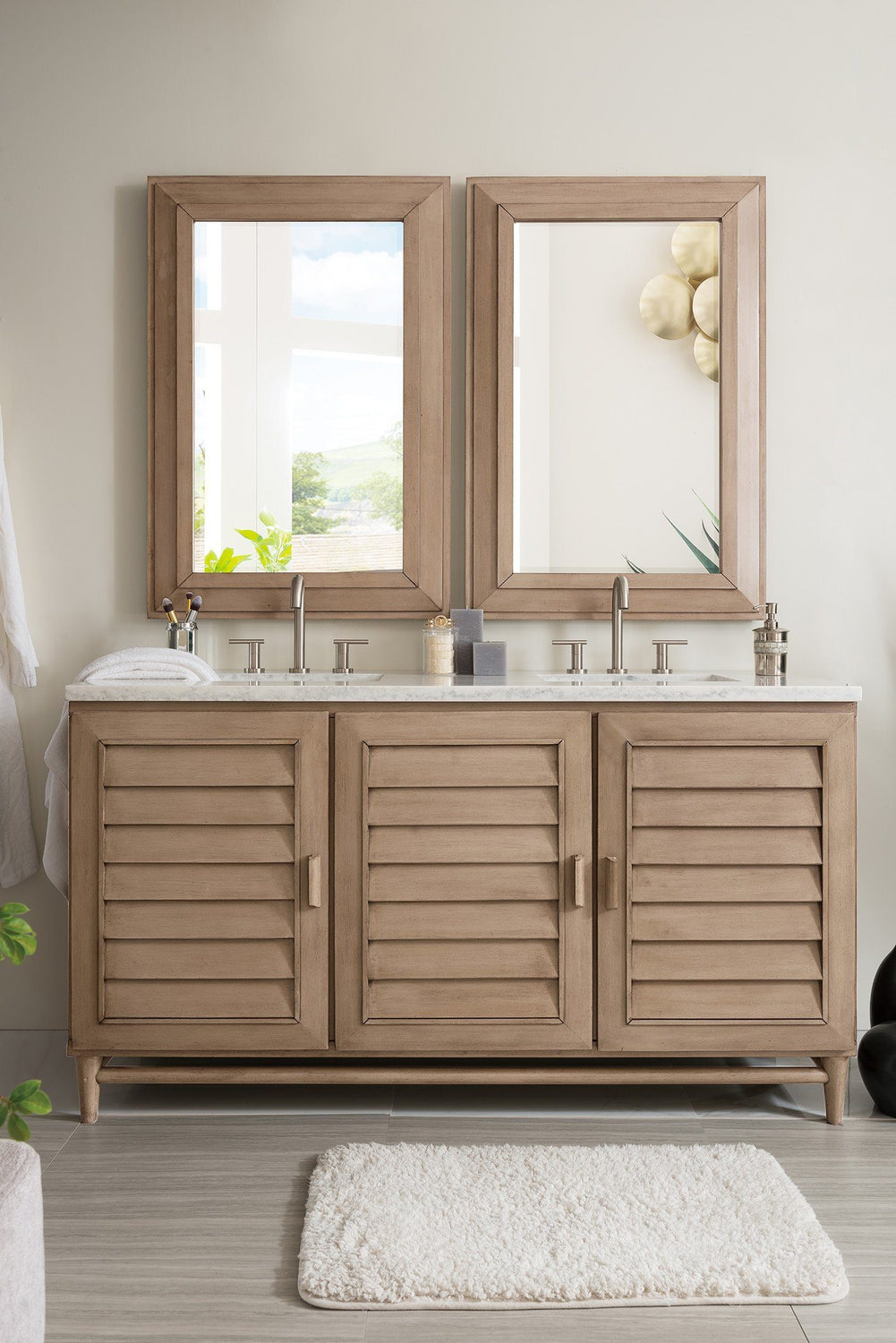 60 portland whitewashed walnut double bathroom vanity for Bathroom vanity portland oregon