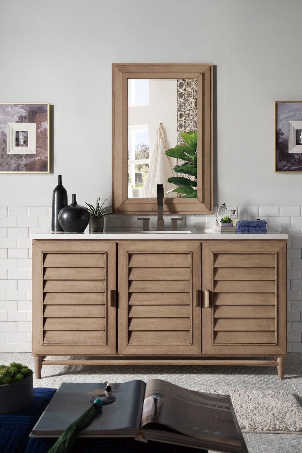 "60"" Portland Whitewashed Walnut Single Bathroom Vanity, James Martin Vanities - vanitiesdepot.com"