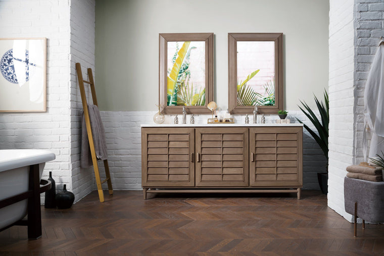 "72"" Portland Whitewashed Walnut Double Bathroom Vanity - vanitiesdepot.com"