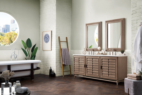 72 Portland Whitewashed Walnut Double Bathroom Vanity
