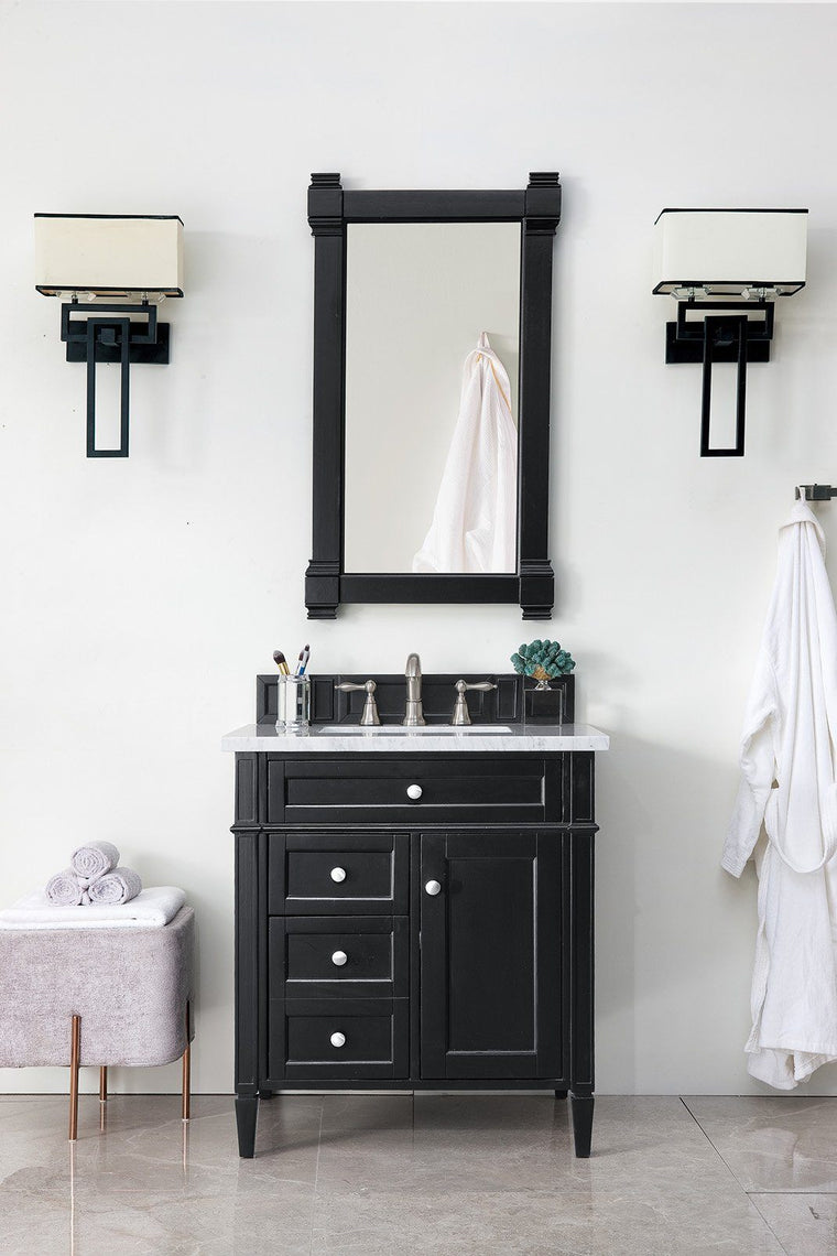 "30"" Brittany Black Onyx Single Sink Bathroom Vanity, James Martin Vanities - vanitiesdepot.com"