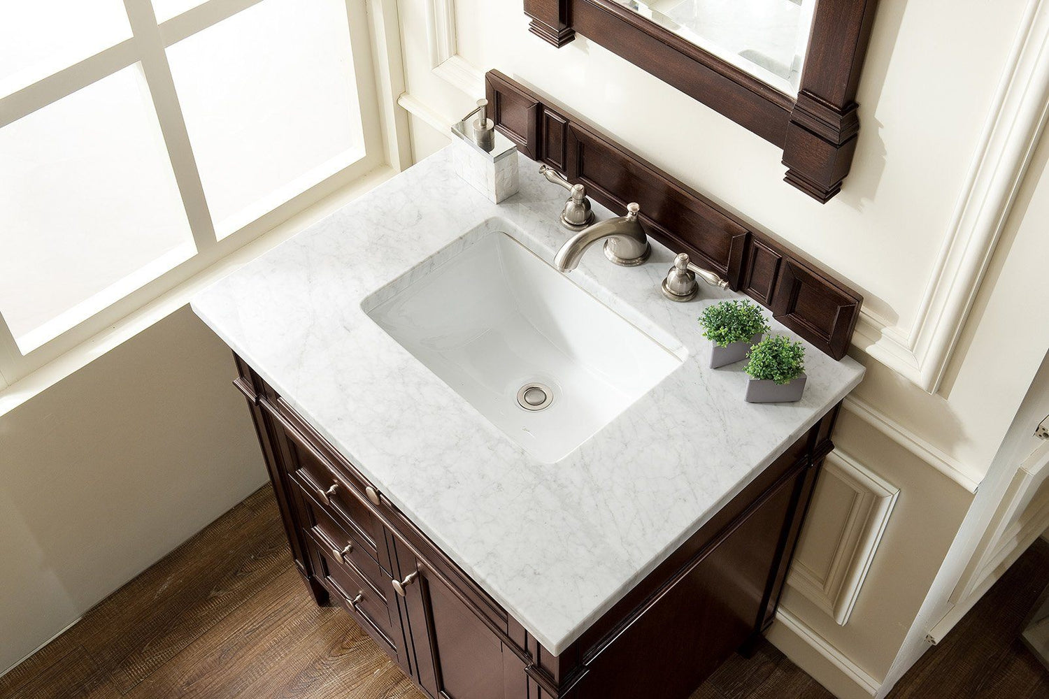 "30"" Brittany Burnished Mahogany Single Sink Bathroom Vanity, James Martin Vanities - vanitiesdepot.com"