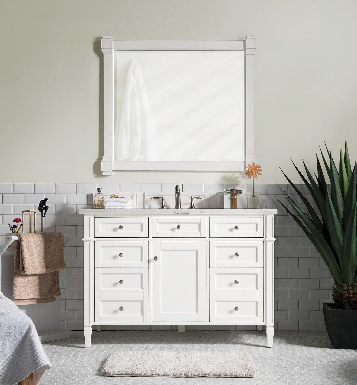 "48"" Brittany Single Bathroom Vanity Bright White, James Martin Vanities - vanitiesdepot.com"