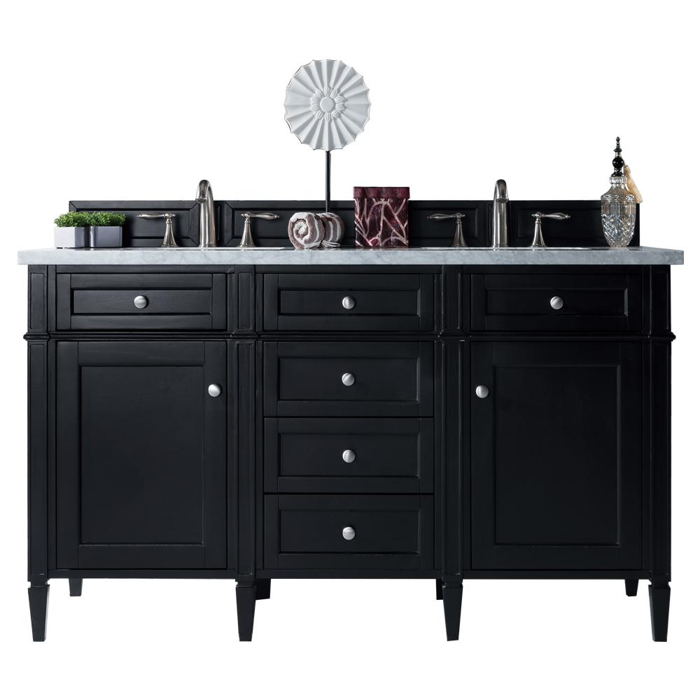 "60"" Brittany Double Bathroom Vanity Black Onyx, James Martin Vanities - vanitiesdepot.com"