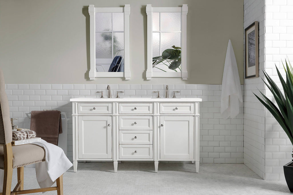 "60"" Brittany Double Bathroom Vanity Bright White"