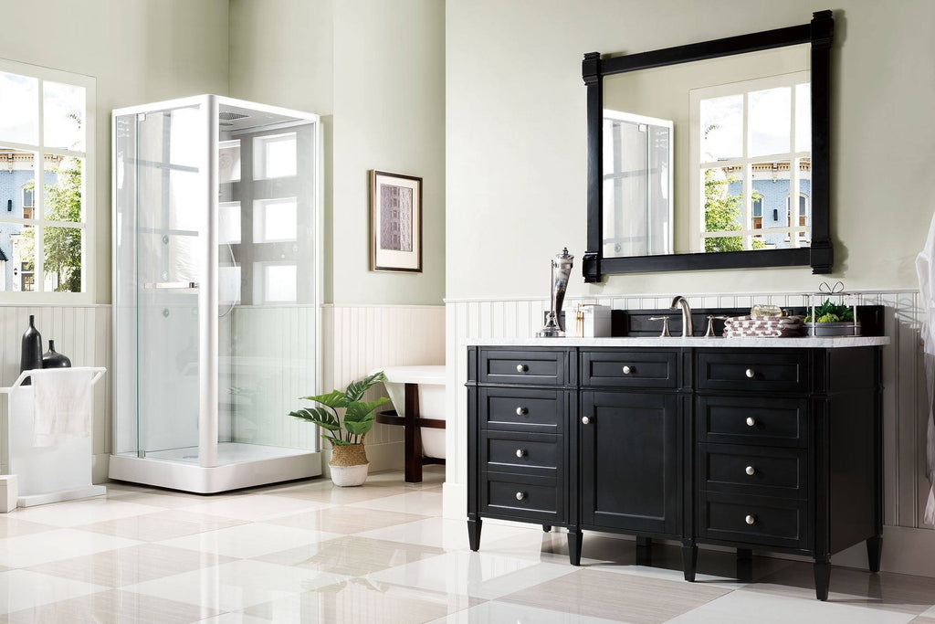"60"" Brittany Single Bathroom Vanity Black Onyx, James Martin Vanities - vanitiesdepot.com"
