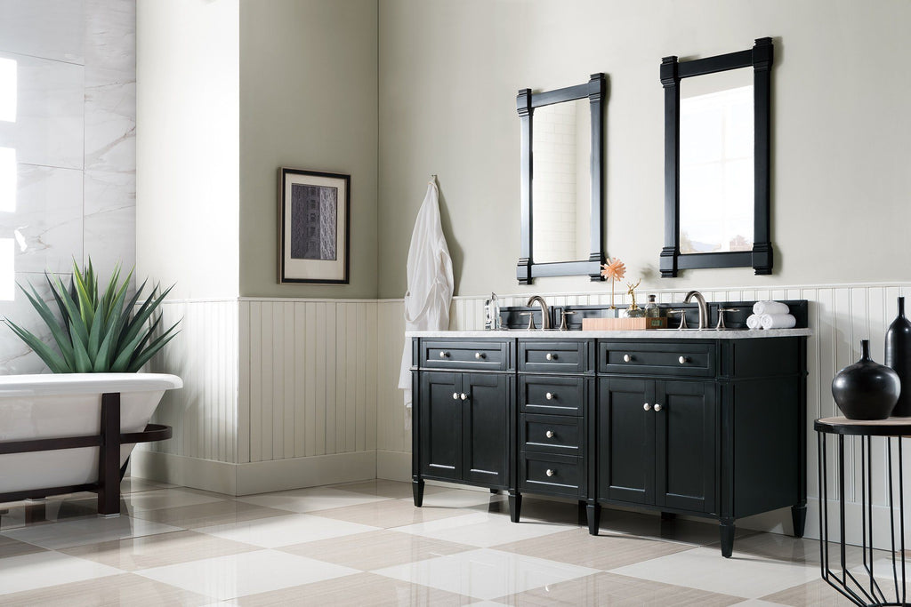 "72"" Brittany Double Bathroom Vanity Black Onyx, James Martin Vanities - vanitiesdepot.com"