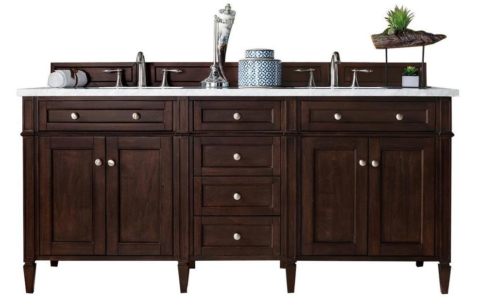 "72"" Brittany Double Bathroom Vanity Burnished Mahogany - vanitiesdepot.com"