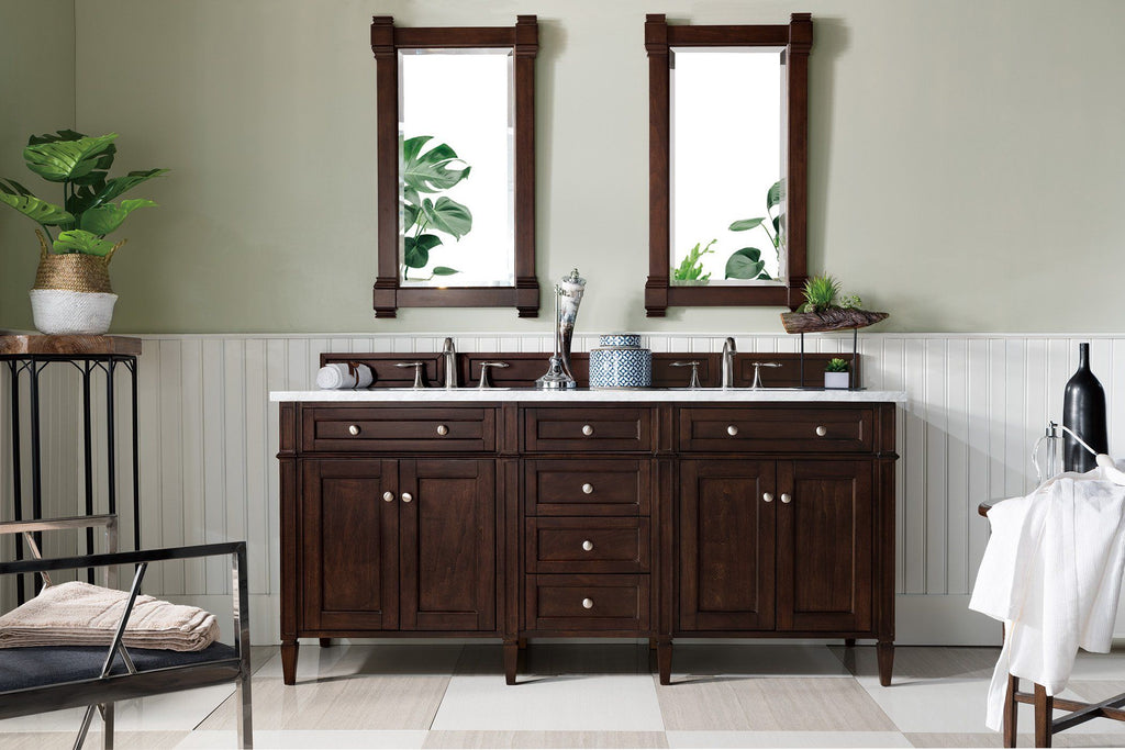 "72"" Brittany Double Bathroom Vanity Burnished Mahogany, James Martin Vanities - vanitiesdepot.com"
