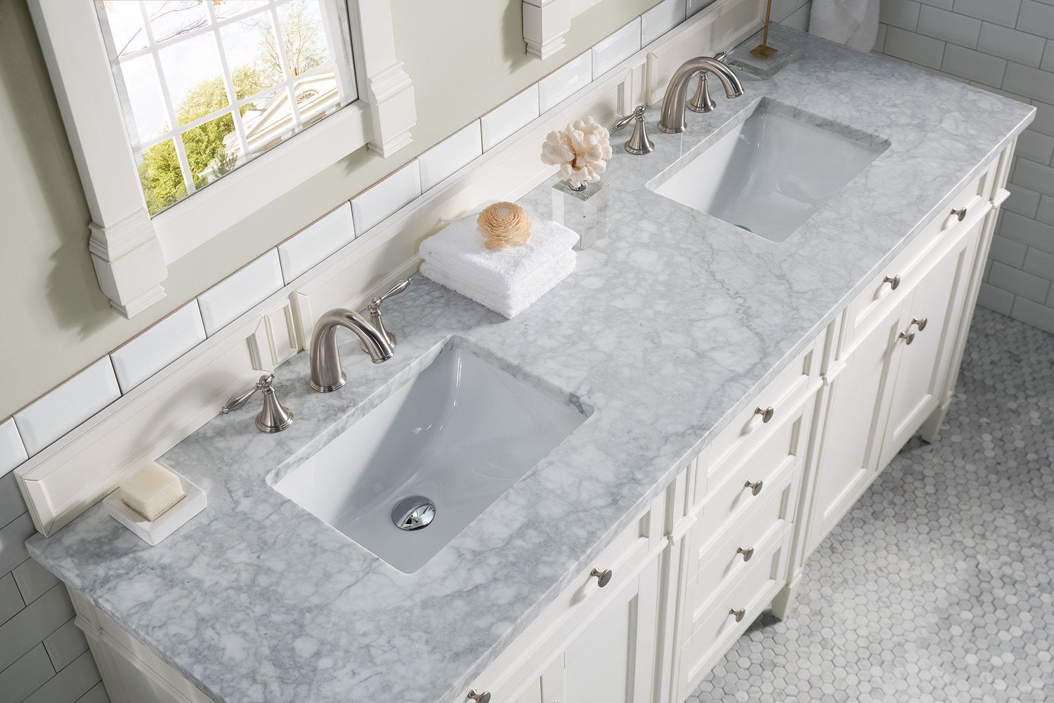 "72"" Brittany Double Bathroom Vanity Bright White, James Martin Vanities - vanitiesdepot.com"
