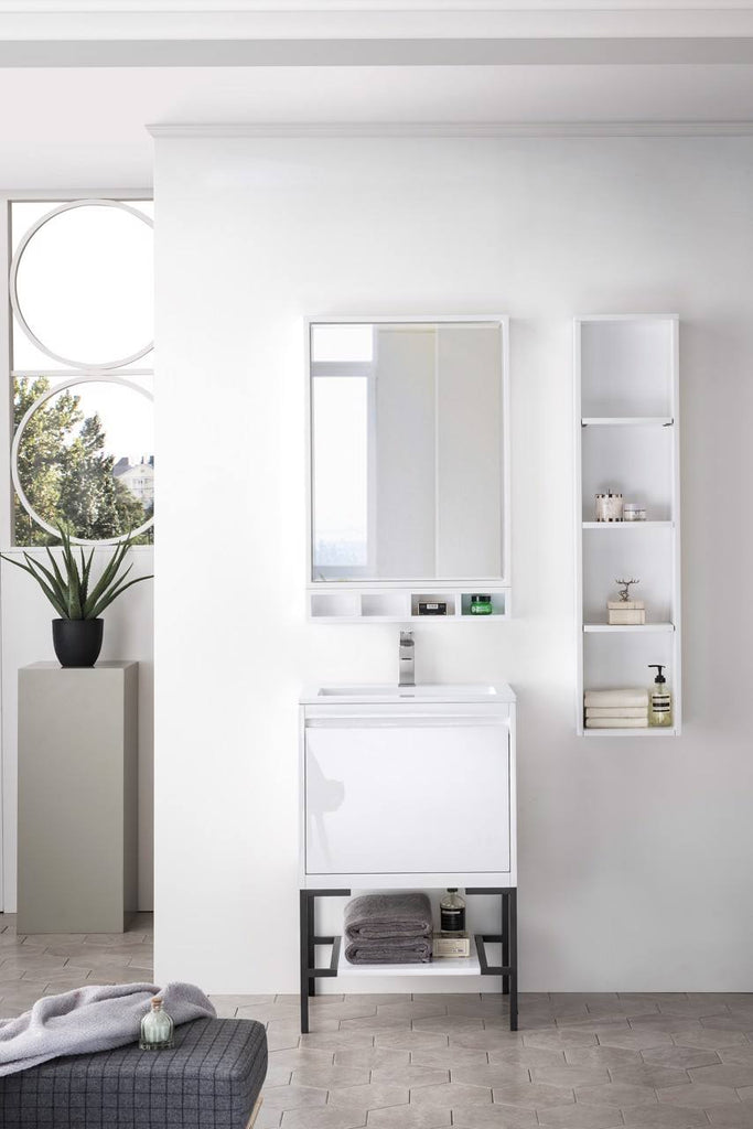"Milan 23.6"" Single Vanity Cabinet, Glossy White, Matte Black Base"