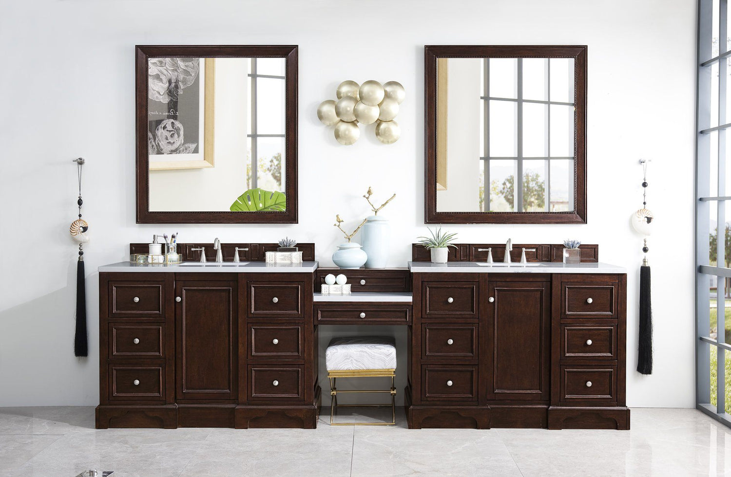 "118"" De Soto Burnished Mahogany Double Sink Bathroom Vanity, James Martin Vanities - vanitiesdepot.com"