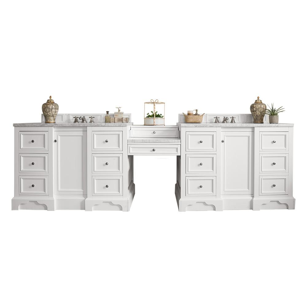 "118"" De Soto Bright White Double Sink Bathroom Vanity, James Martin Vanities - vanitiesdepot.com"